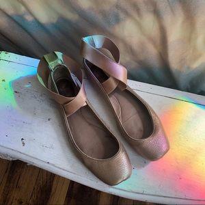 Chloe metallic nude leather ballet slipper flats